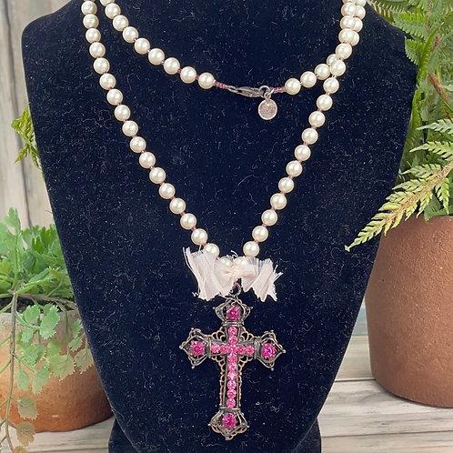 Adorned Crown Pearl bead rhinestone cross necklace
