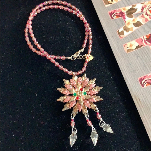 Ice castle pink crystal snowflake necklace