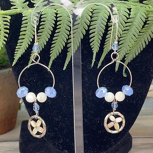 Adorned Crown assemblage blue bead mop earrings