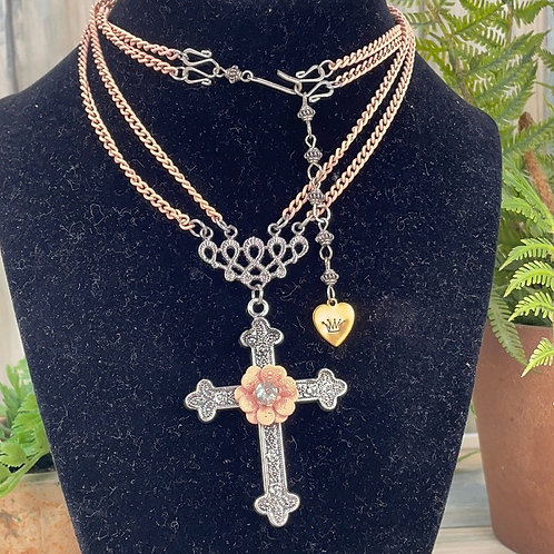 Adorned Crown pink cross 2 strand necklace