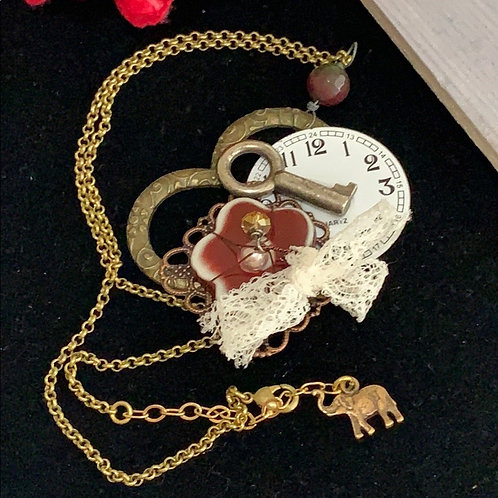 Red Never forget flower clock key elephant necklace