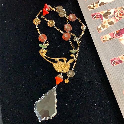 Orange Autumn Splendor glass floral bead crystal necklace