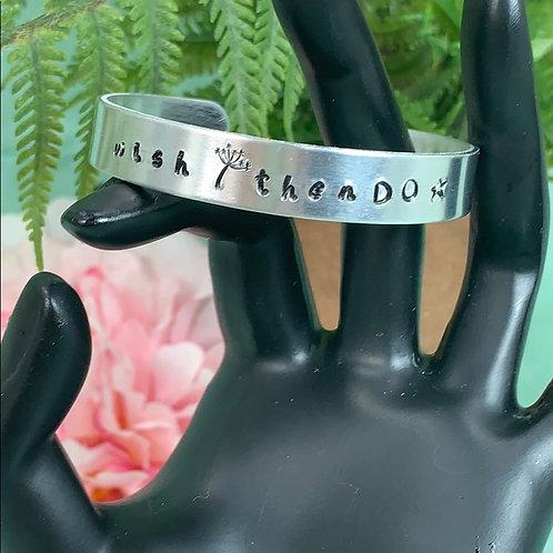 Wish Then Do dandelion stamped cuff bracelet