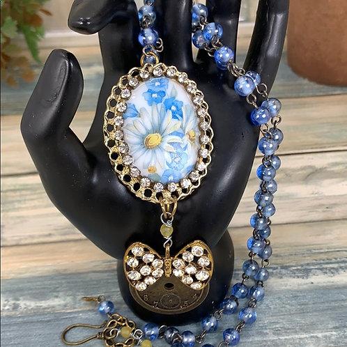 Blue You bring me joy blue floral necklace