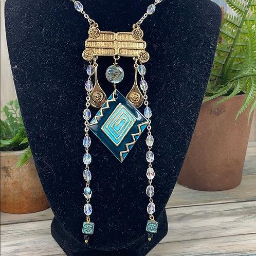 Teal Art Deco long boho crystal necklace