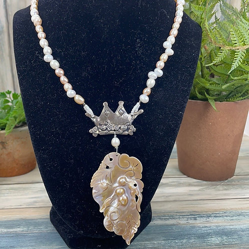 Adorned Crown Pearl sterling silver crown necklace