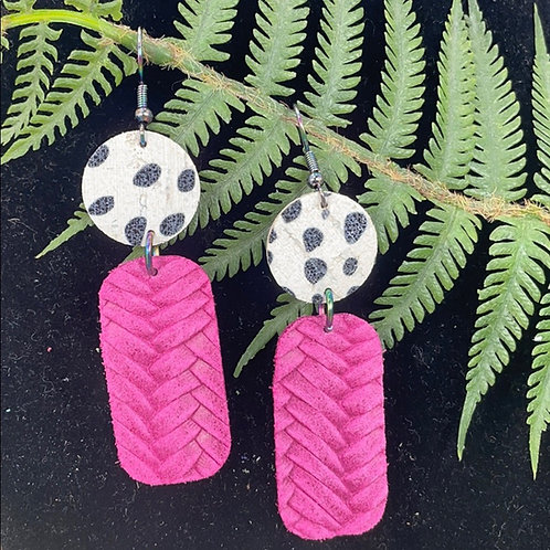 Pink Dot leather statement earrings