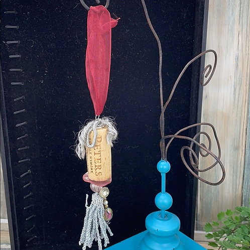 Red silver assemblage wine cork ornament