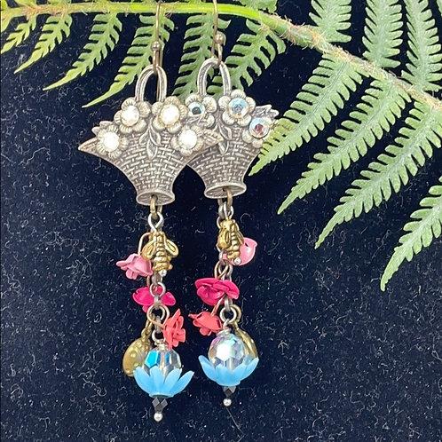 Pink Spring assemblage flower basket earrings