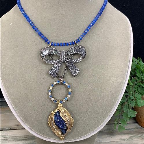 Blue Rhinestone bow gold lapis lazuli necklace