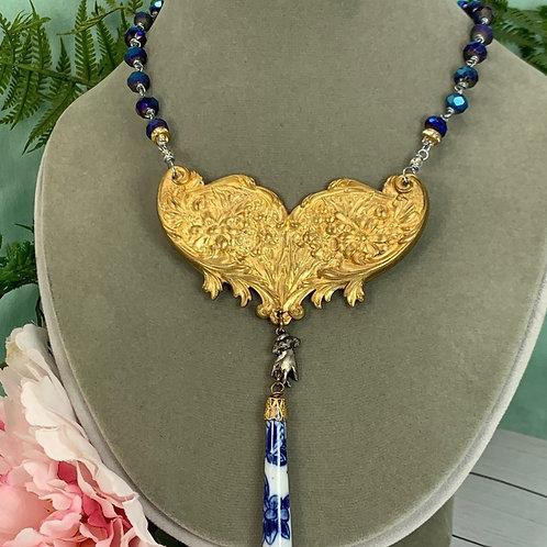 Brass assemblage blue filigree necklace