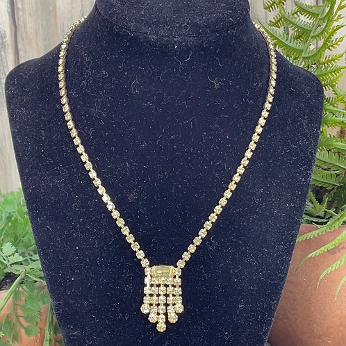 Take me out yellow assemblage rhinestone necklace
