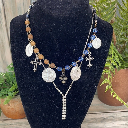 Adorned Crown 2 strand rosary prayers necklace