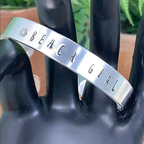 Beach Girl wuartz drop stamped cuff bracelet