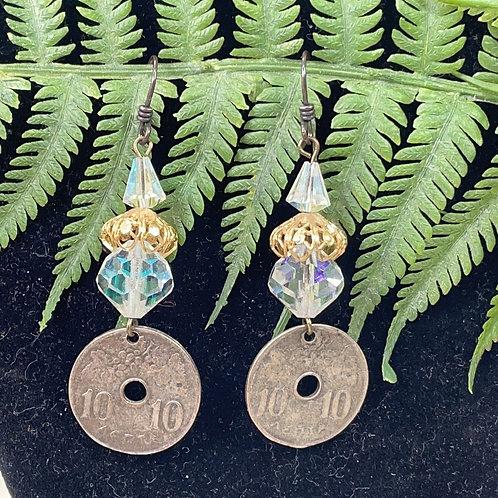 Adorned Crown Greek coin crystal earrings
