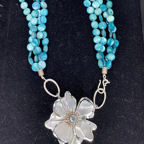 Blue Cornflower coin mother of pearl necklace
