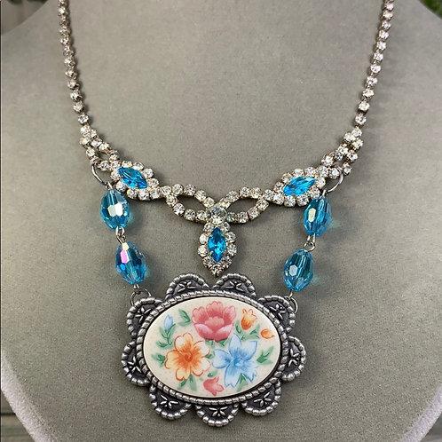 Granny's garden blue floral rhinestone necklace