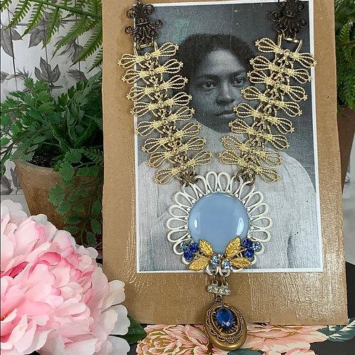 Something Blue Vintage locket necklace