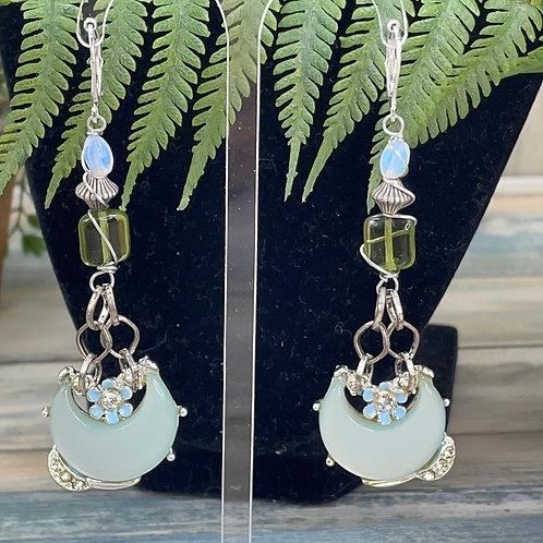 Adorned Crown assemblage blue moon earrings
