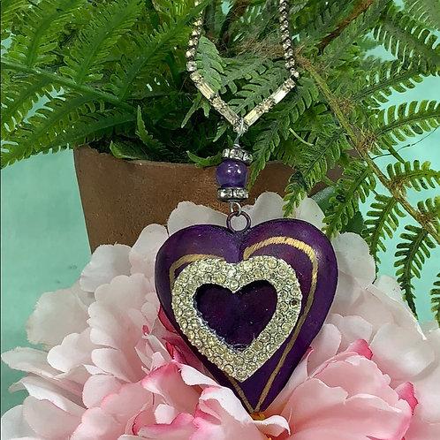 Purple Puffy Heart rhinestone necklace