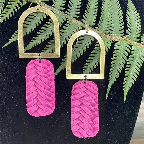 Brushed arch pink leather earrings