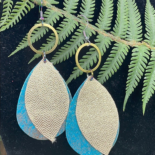 Teal gold Trendy double leather & brass statement earrings