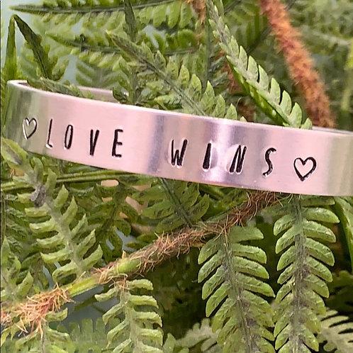 LOVE WINS stamped cuff bracelet