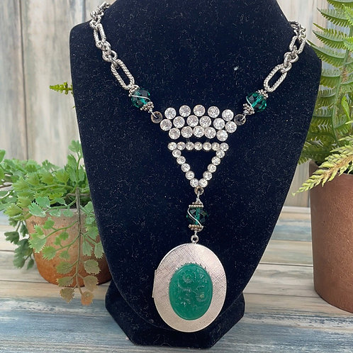 Adorned Crown green jade vintage locket necklace