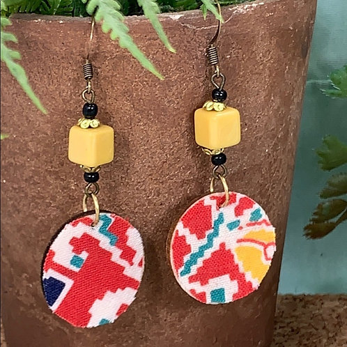 Red vintage fabric yellow bead disc earrings