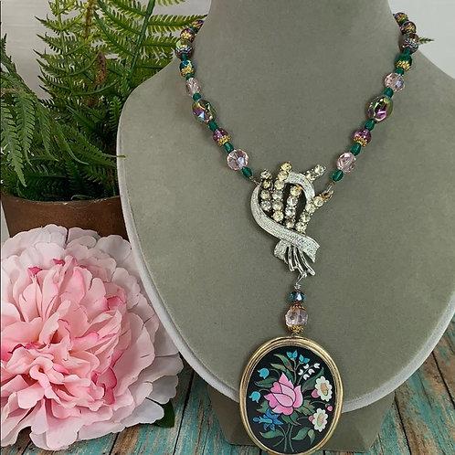 Pink green Victorian garden assemblage pendant necklace