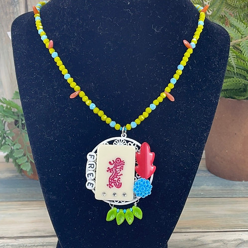 Green Forever Free assemblage mahjong tile necklace