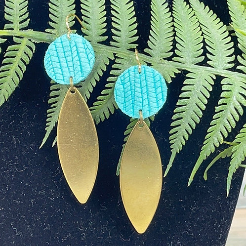 Teal Pop of color leather disc brass drop earrings