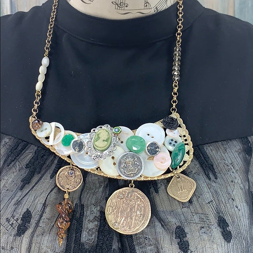 Green Statement assemblage button bits necklace