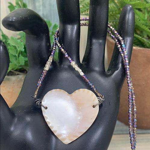 Purple You've Got a Big Heart bead necklace