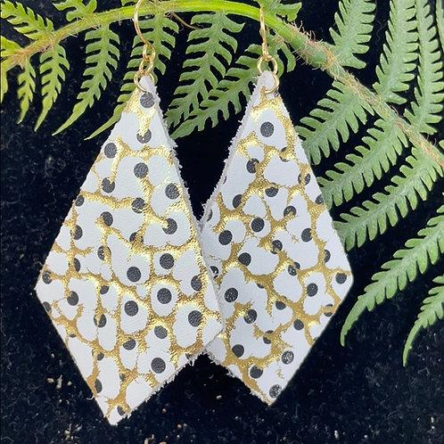 Trendy leather gold diamond statement earrings