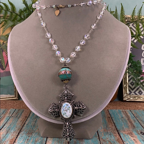 Green Easter Cross crystal bead necklace