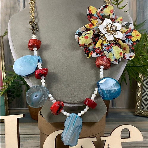 Red blue Slice of Life agate flower coral necklace