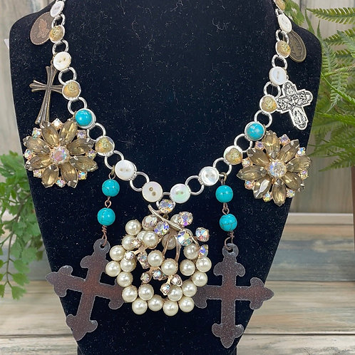 Teal Rugged Cross assemblage cross button necklace