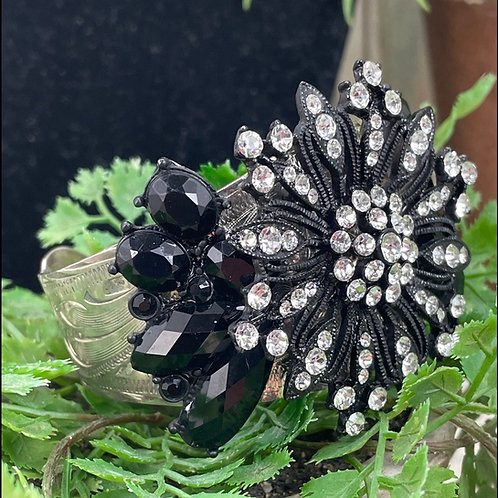 Black All decked out assemblage rhinestone bracelet