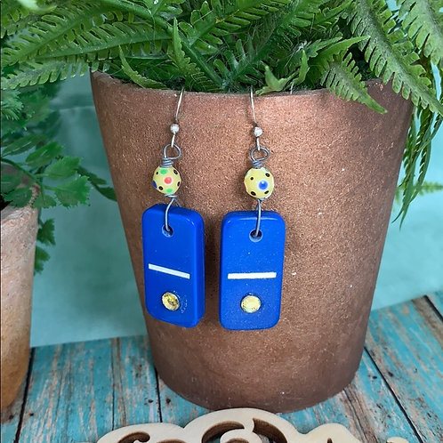 Blue Real mini vintage domino game piece earrings