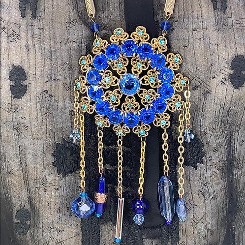 Blue rhinestone rhinestone dream catcher necklace