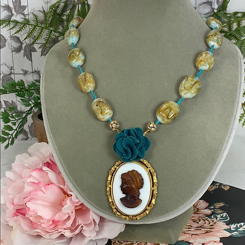Green Martha Assemblage flower cameo necklace
