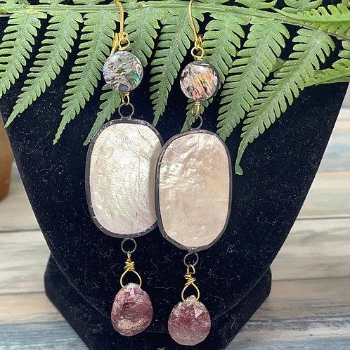 Adorned Crown Shell stone drop earrings