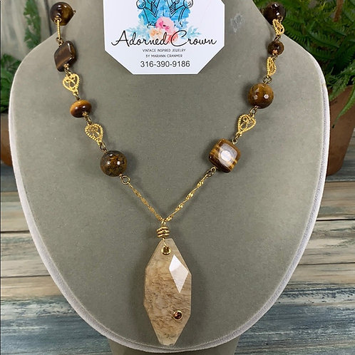 Stoned quartz agate tigers eye necklace