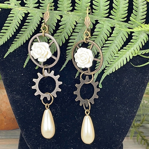 Ivory Lighter Side assemblage steampunk earrings