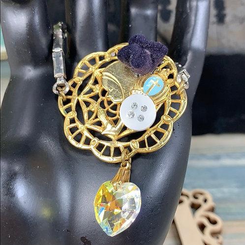 Teal purple Sacred prayer crystal heart bracelet