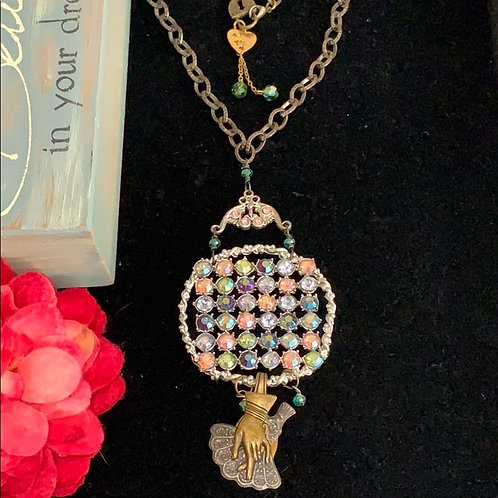Pink Give a helping hand charm fan necklace