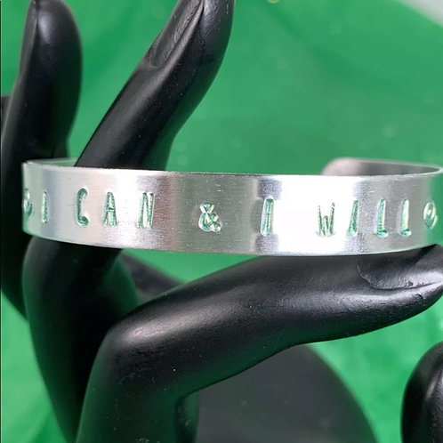 Green I can & I will stamp cuff bracelet