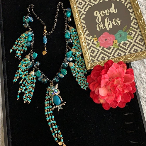 Boho retro teal tassel owl vintage necklace