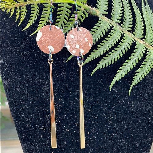 Tan Faux leather disc spike statement earrings